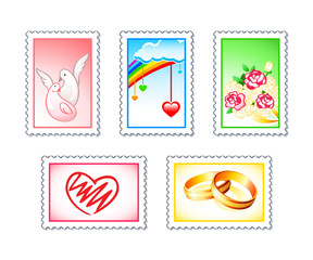 Wedding stamps with love doves, hearts, rings and flowers