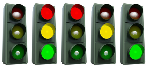 Traffic light with all colors on white including clipping path