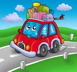 Poster Voitures enfants Cute car with baggage on road
