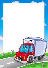 Keuken foto achterwand Cars Frame with cute delivery car