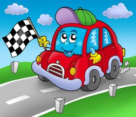 Papiers peints Voitures enfants Car race starter on road