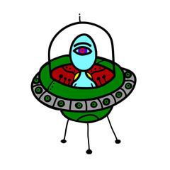 alien in a flying saucer