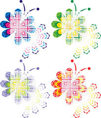 Four color design of creative butterfly