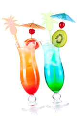 Two tropical alcohol cocktails