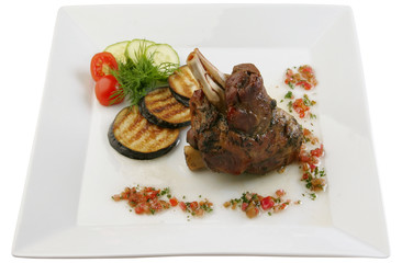 Lamb shin   with vegetables and sauce