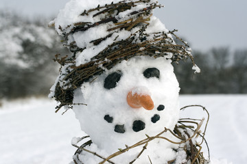 Snowman close-up landscape