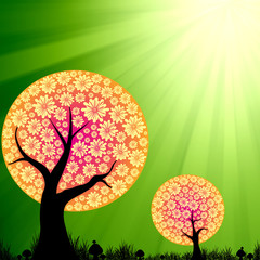 Abstract floral trees on green burst light background