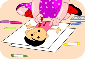 Illustration of girl drawing the picture with sketch