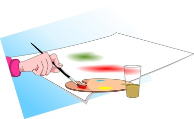 Illustration of man painting in the picture