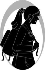 Illustration of lady walking in the school