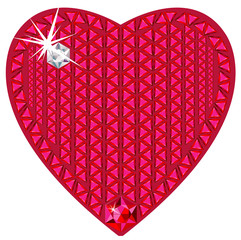 Red heart made from precious stones