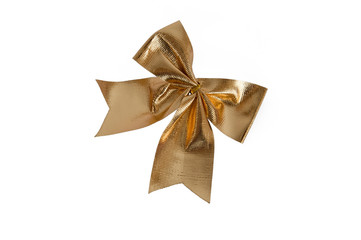 gold bowknot isolated on white background