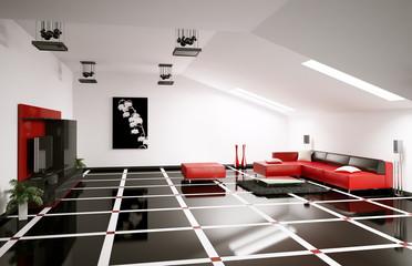 Dachboden wohnzimmer 3d render
