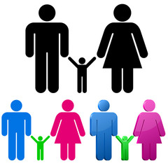 Male and female gender signs. Family concept.