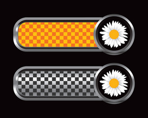 daisy flower orange and black checkered tabs