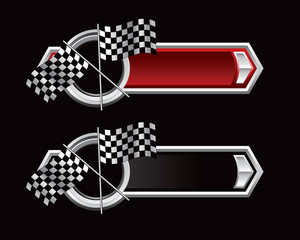 checkered flags red and black arrows
