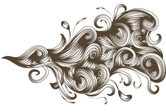 Hand drawn detailed flowing swirl element