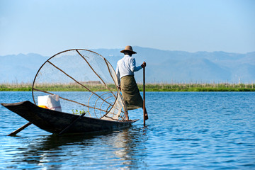 Fisherman in inle lake, Myanmar.