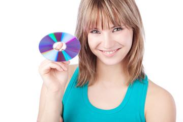 junge frau mit software cd
