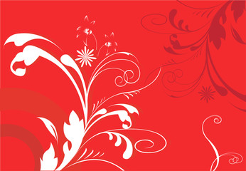 abstract floral designs on red background