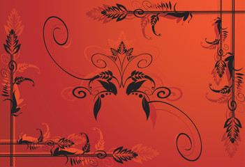 Floral designs on red back ground