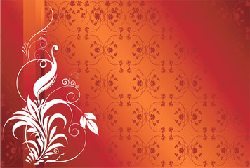 abstract floral designs on  red back ground