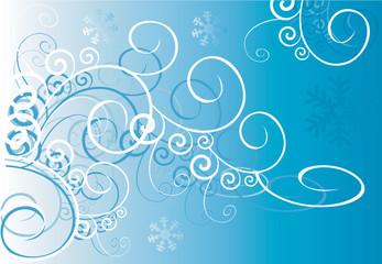 Floral designs of swirls on blue background