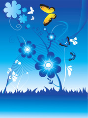 Floral designs with butterflies  flying around the tree