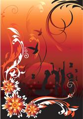 People dancing in floral designs,
