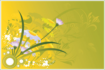 Flowers on yellow floral background