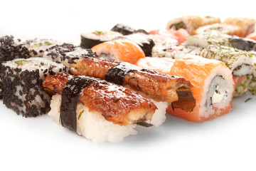 Different types of sushi.
