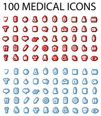 100 Medical icons set, blue and red stickers, emblem