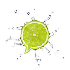 Lime in shape of dialog box with water drops isolated on white