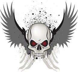 Evil skull emblem on white background