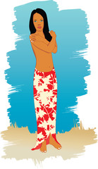Illustration of beach girl.