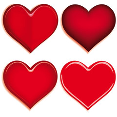 Set of 4 hearts