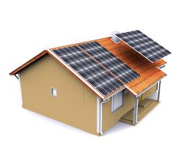Maison solaire en installation