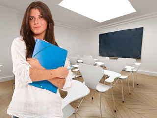 Student and empty class