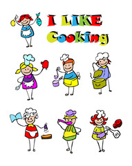 cartoon cooking icons set, food & cook kids style design