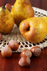 Pears and hazelnuts