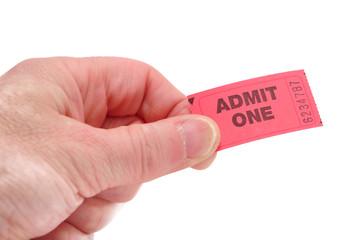 Hand Holding Admit One Ticket