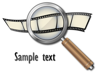 Film strip with magnifying glass, vector
