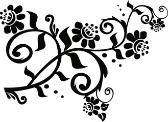 conventionalized black floral branch