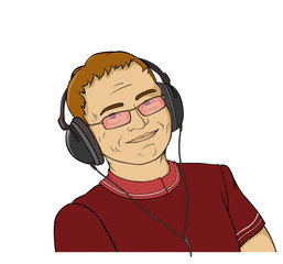 illustration   of smiling man  with  earphone