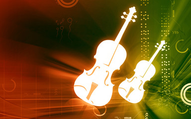 Illustration of a violin with music notes