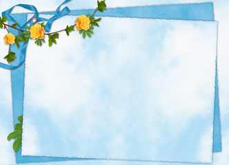 Card for the holiday  with flowers and ribbons on the abstract b