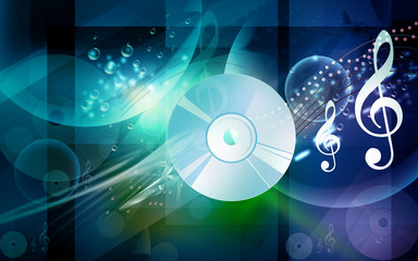 Illustration of a compact disc with music notes