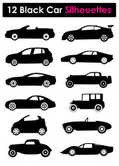 12 Car Silhouettes, Vector Illustration