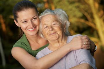 Embracing grandmother