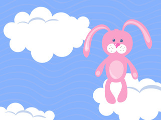 Vector illustration of pink bunny on a sky background